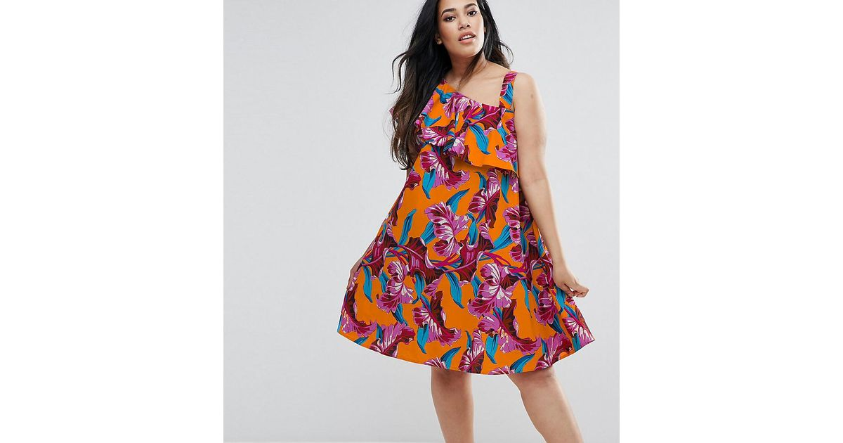 f87436dffd Lyst - ASOS One Shoulder Ruffle Sundress In Bright Tropical Print