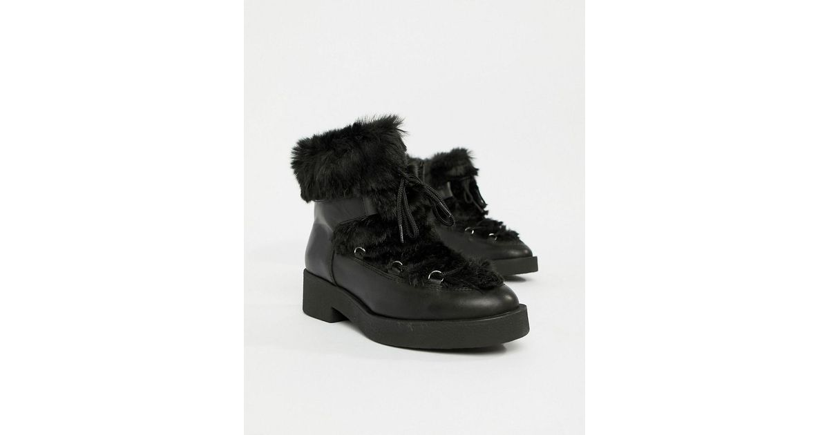 124b40c38237 Lyst - ALDO Chunky Faux Fur Leather Ankle Boots in Black