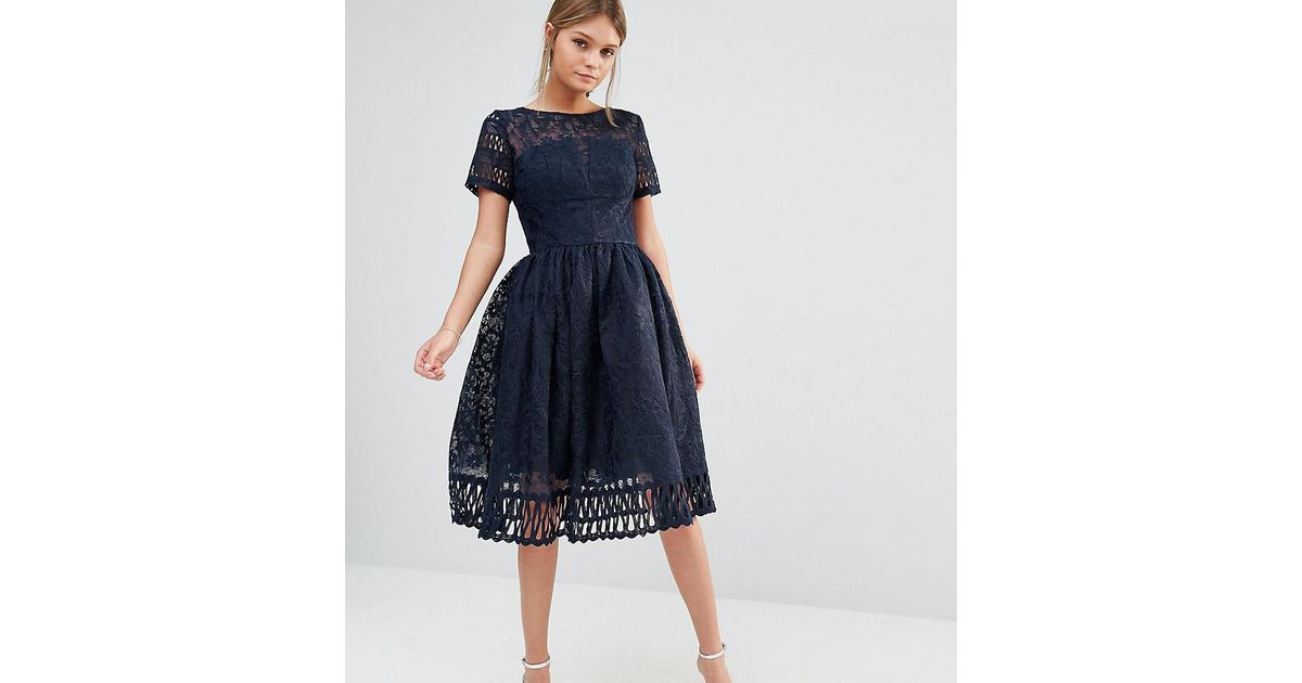 5deffb85632 Chi Chi London Premium Lace Dress With Cutwork Detail And Cap Sleeve In Navy  in Blue - Lyst