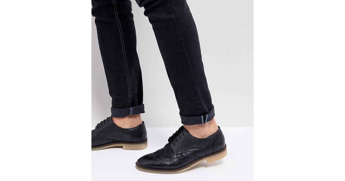 Wide Fit Casual Brogue Shoes In Black Leather With Natural Sole - Black Asos N4FhMojuiA