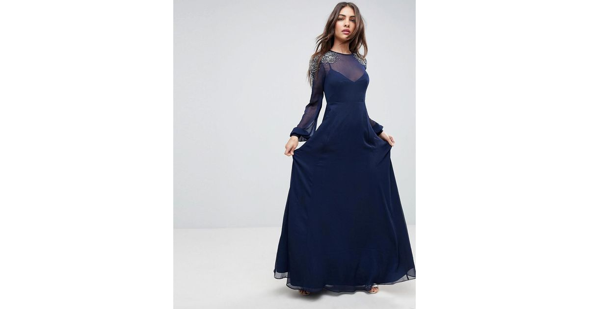 6d4b0a17d6c ASOS Asos Sheer Sleeve Maxi Dress With Embellished Shoulder Detail in Blue  - Lyst