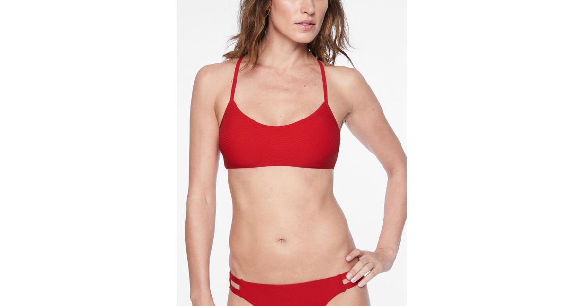 69a457615b6 Lyst - Athleta Cloudbreak Rib Strappy Bikini Top in Red