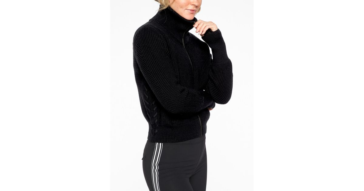 69b3ea3717b8e Lyst - Athleta Swissvale Bomber Sweater in Black