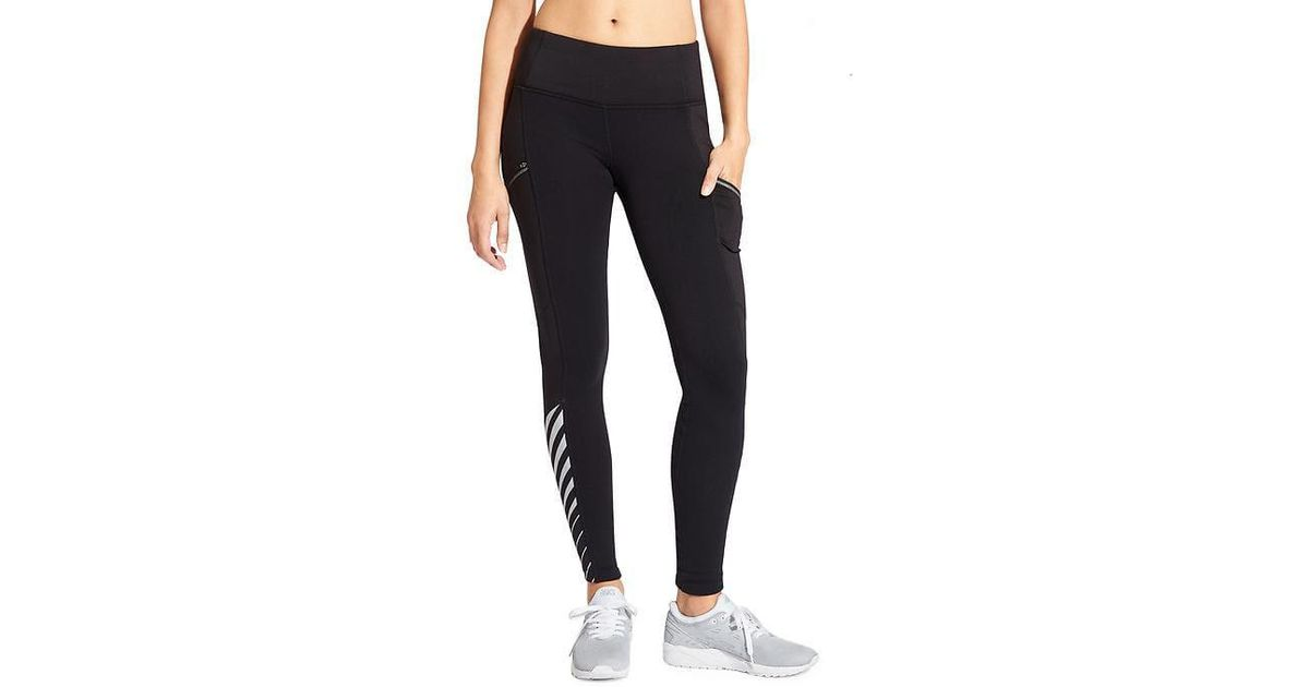 b328a7f358e5 Lyst - Athleta Reflective Detail Powerlift Tight 2.0 in Black