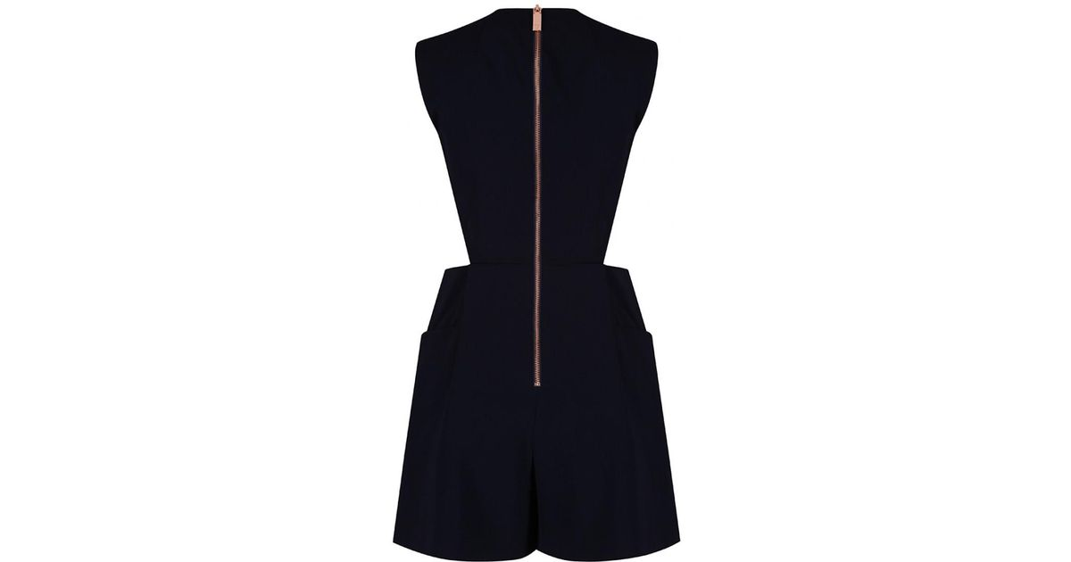 13e040a16bc0 Lyst - Ted Baker Women s Konnee Wrap Front Cut Out Playsuit in Blue