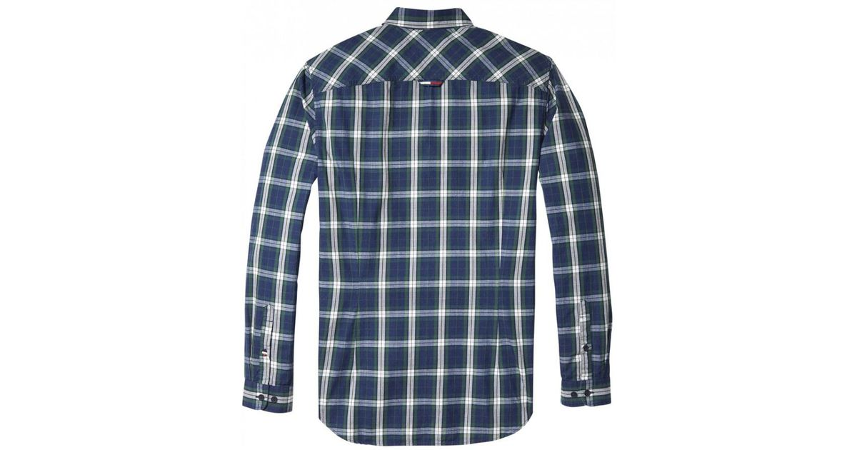 35fa813e Tommy Hilfiger Tommy Jeans Mens Indigo Check Shirt in Blue for Men - Lyst