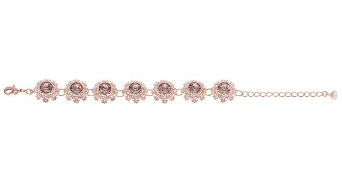 5c6db8e18 Lyst - Ted Baker Women s Seah Crystal Daisy Lace Bracelet in Metallic