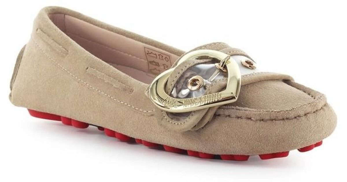 70e41aa5838a3 Love Moschino - Pink Suede Moccasin - Lyst