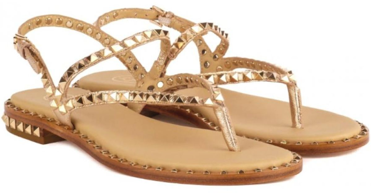 5232957023d2 Ash Peps Studded Sandals Rose Gold Leather   Gold Studs in Metallic - Save  3% - Lyst