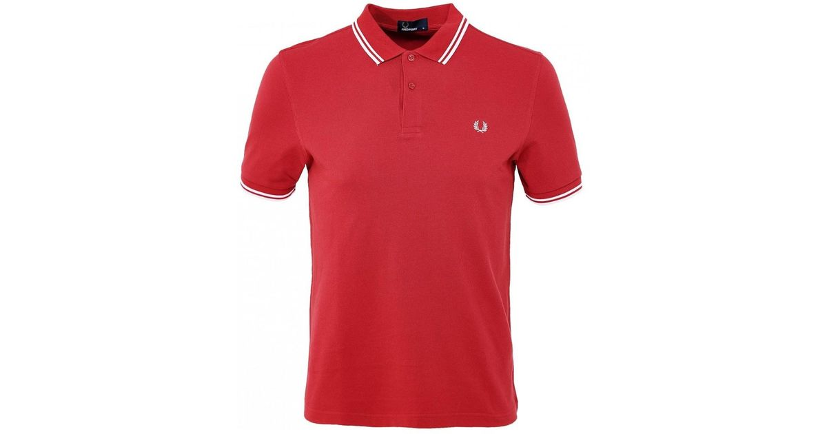 259942e4c Lyst - Fred Perry Twin Tipped Polo Shirt M3600 541 in Red for Men
