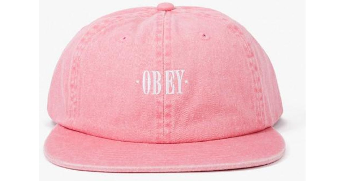 eed8faab145 Lyst - Obey Rosa 6 Panel Snapback Hat in Pink for Men