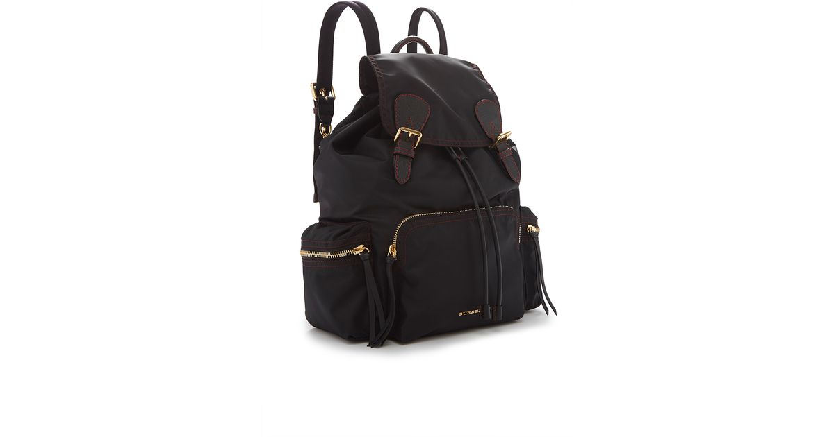 d6c8a2d3217dd Burberry Rucksack In Black And Parade Red Technical Nylon And Leather in  Black - Lyst