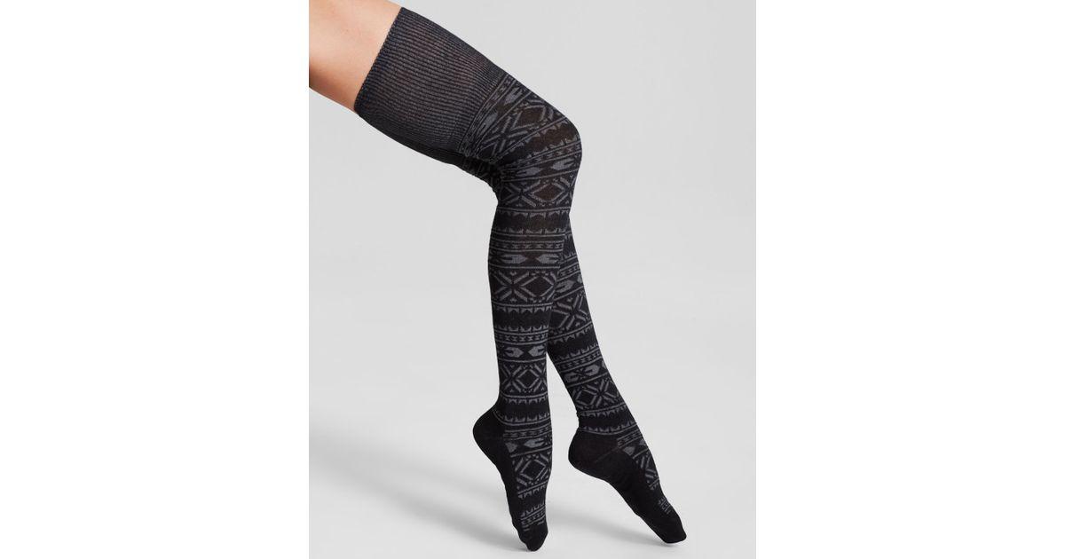 Hue Fair Isle Space-Dyed Over-The-Knee Socks in Black | Lyst