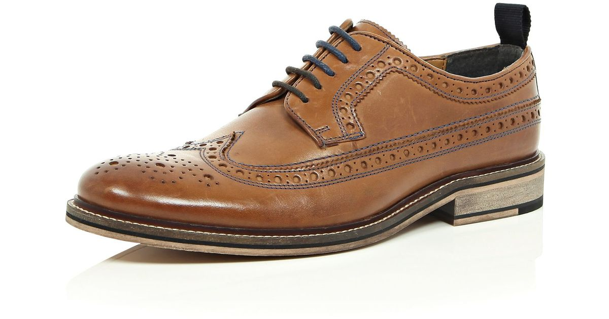 River Island Medium Brown Leather Brogues In For Men Lyst