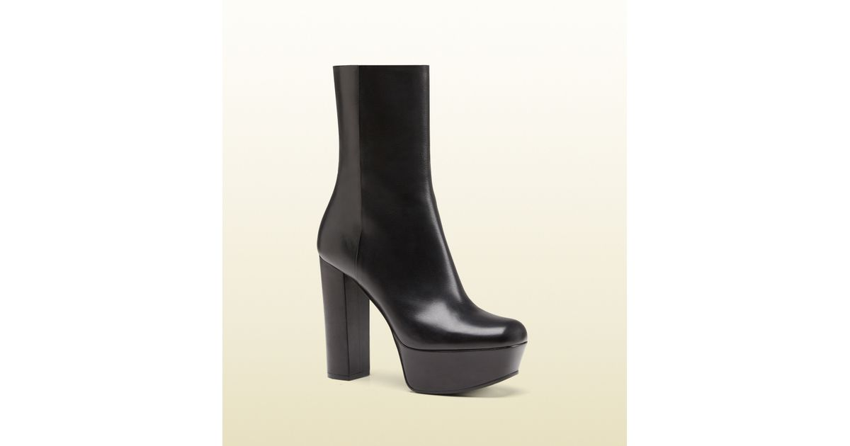 d32c0caba Gucci Leather Platform Ankle Boot in Black - Lyst