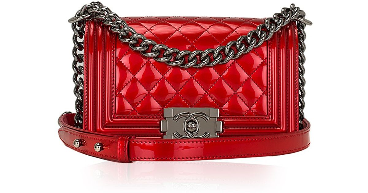 b224eb0a7b32 Lyst - Madison Avenue Couture Chanel Red Metallic Patent Small Boy Bag in  Red