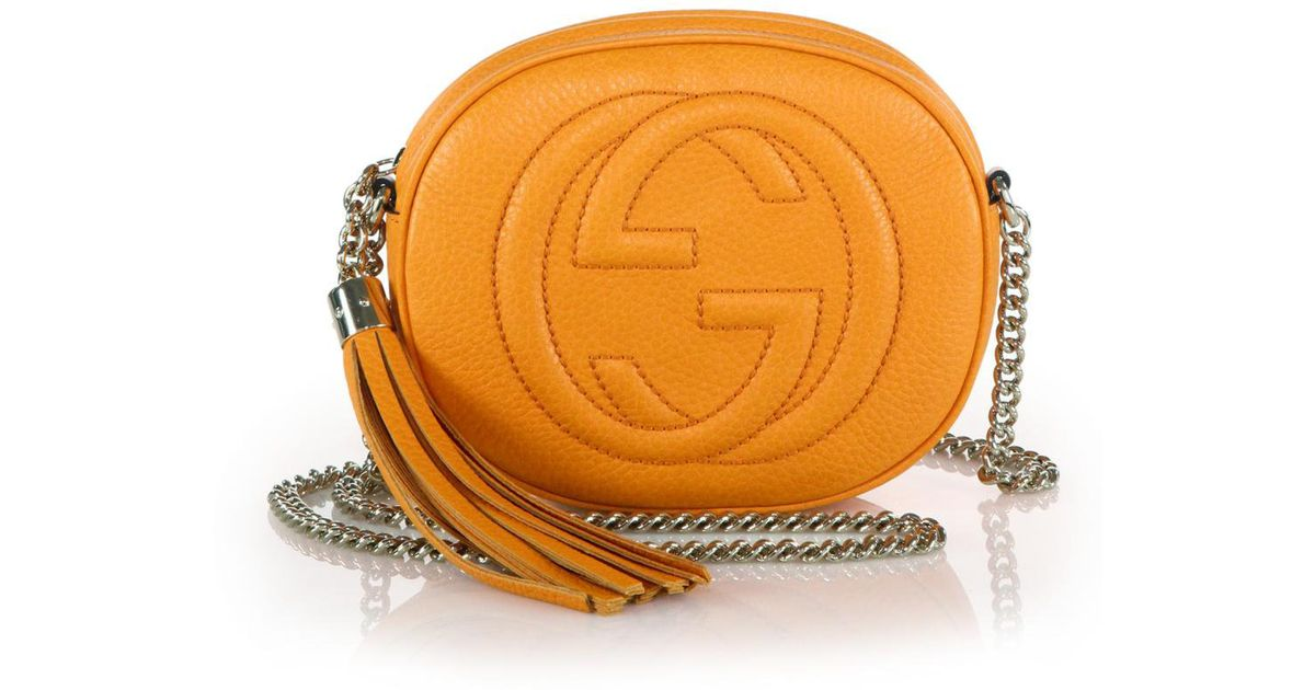4ed8a776570 Lyst - Gucci Soho Leather Mini Chain Bag in Yellow