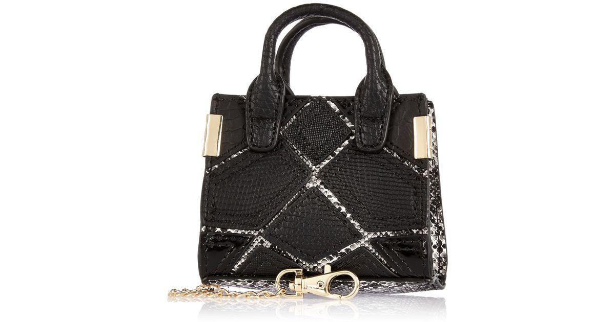169d8315e2 River Island Black Patchwork Panel Handbag Keyring in Black - Lyst