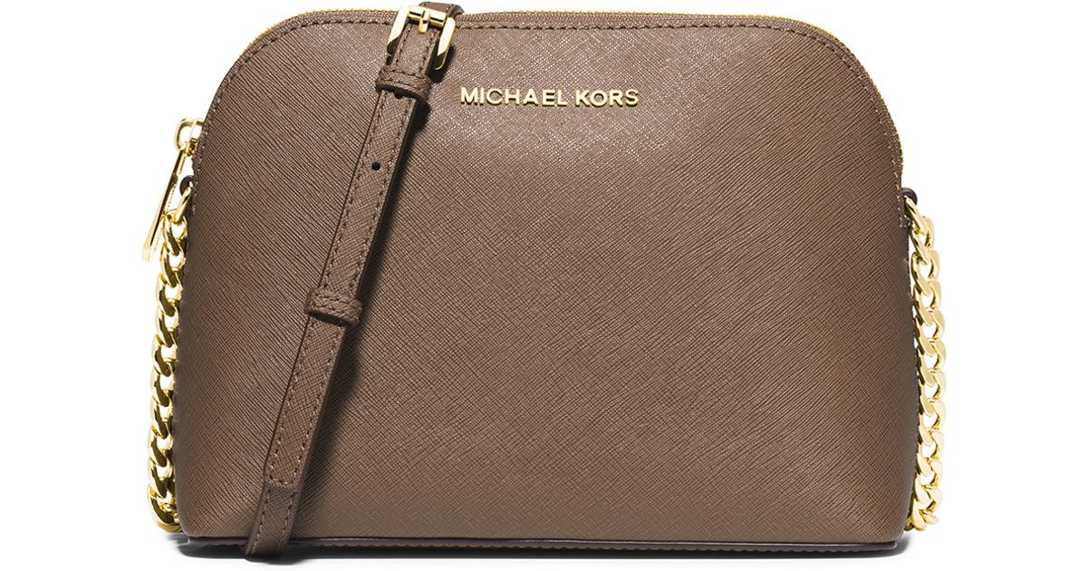bee7c79cc12c MICHAEL Michael Kors Cindy Large Dome Crossbody Bag in Natural - Lyst