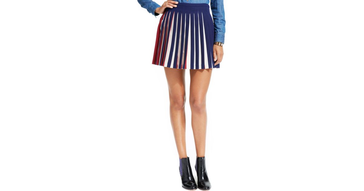 28e3e716ac Tommy Hilfiger Colorblocked Pleated Skirt in Blue - Lyst