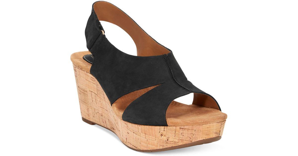 08eee9b782f Lyst - Clarks Artisan By Caslynn Lizzie Plaform Wedge Sandals in Black
