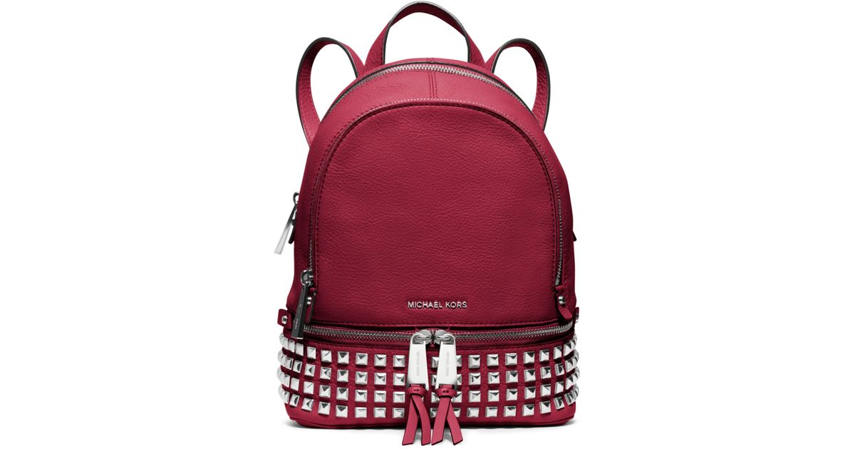 a525c354151437 Michael Kors Rhea Extra-small Leather Backpack in Red - Lyst