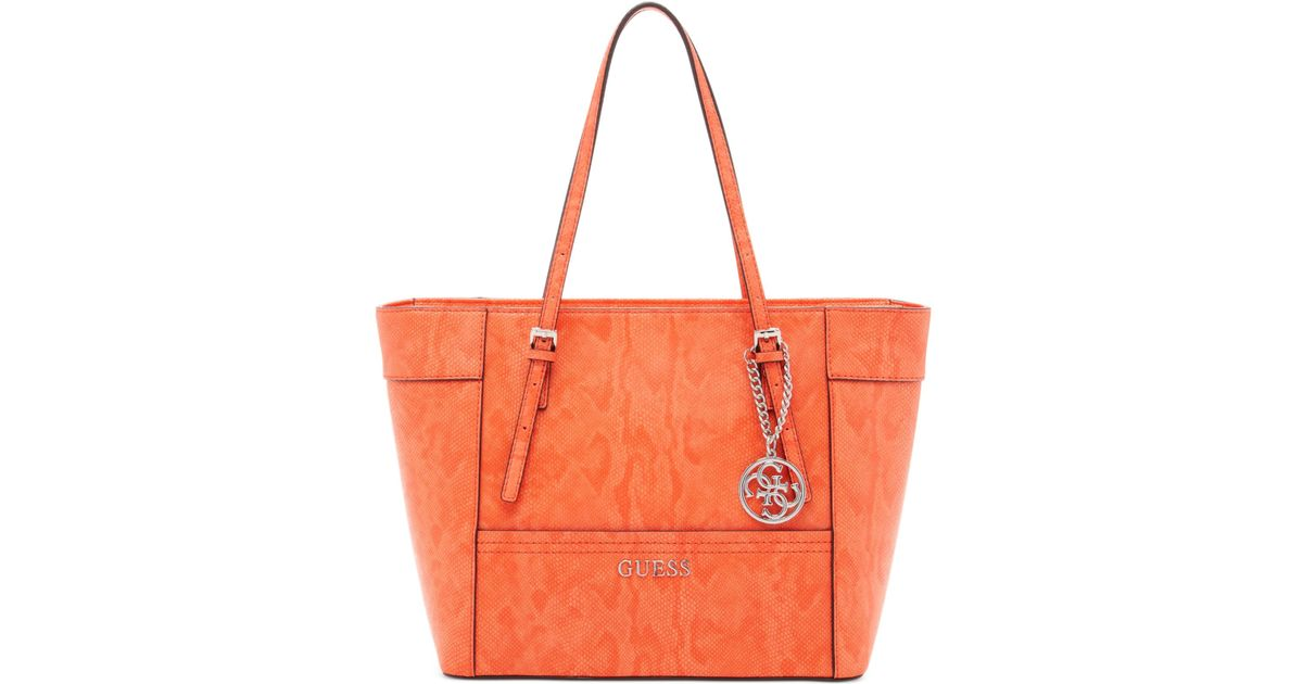 a0d0cd1eebbe Lyst - Guess Delaney Small Classic Tote in Red