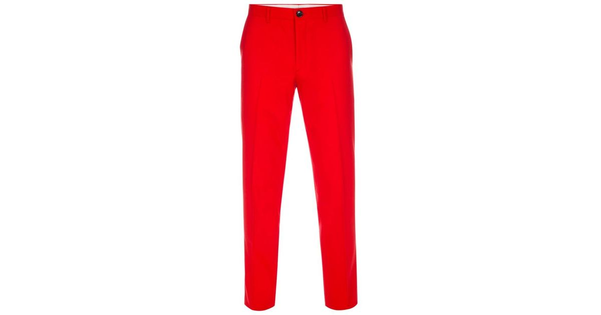 Greatest Lyst - Paul Smith Men's Mid-fit Bright Red Wool-hopsack Trousers  ZA33