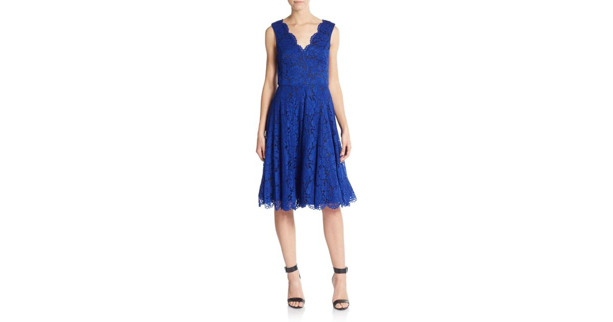 b9a3ee9e Vera Wang Floral Lace A-line Dress in Blue - Lyst