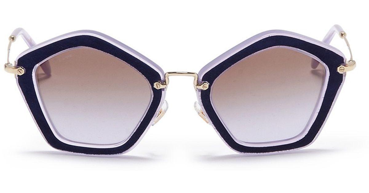 b044bf4c20d Lyst - Miu Miu  Culte  Suede Pentagon Frame Acetate Sunglasses in Blue