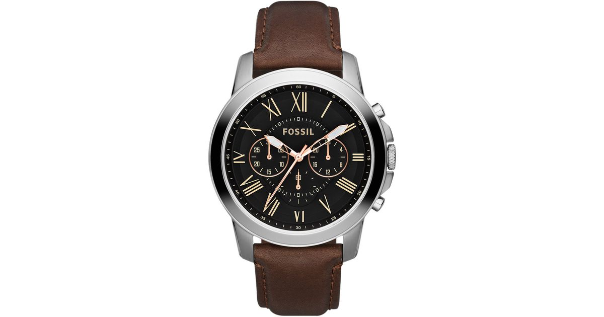 fossil mens grant silvertone leather chronograph in