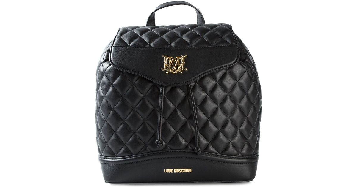 a3ed27339e Love Moschino Quilted Backpack in Black - Lyst
