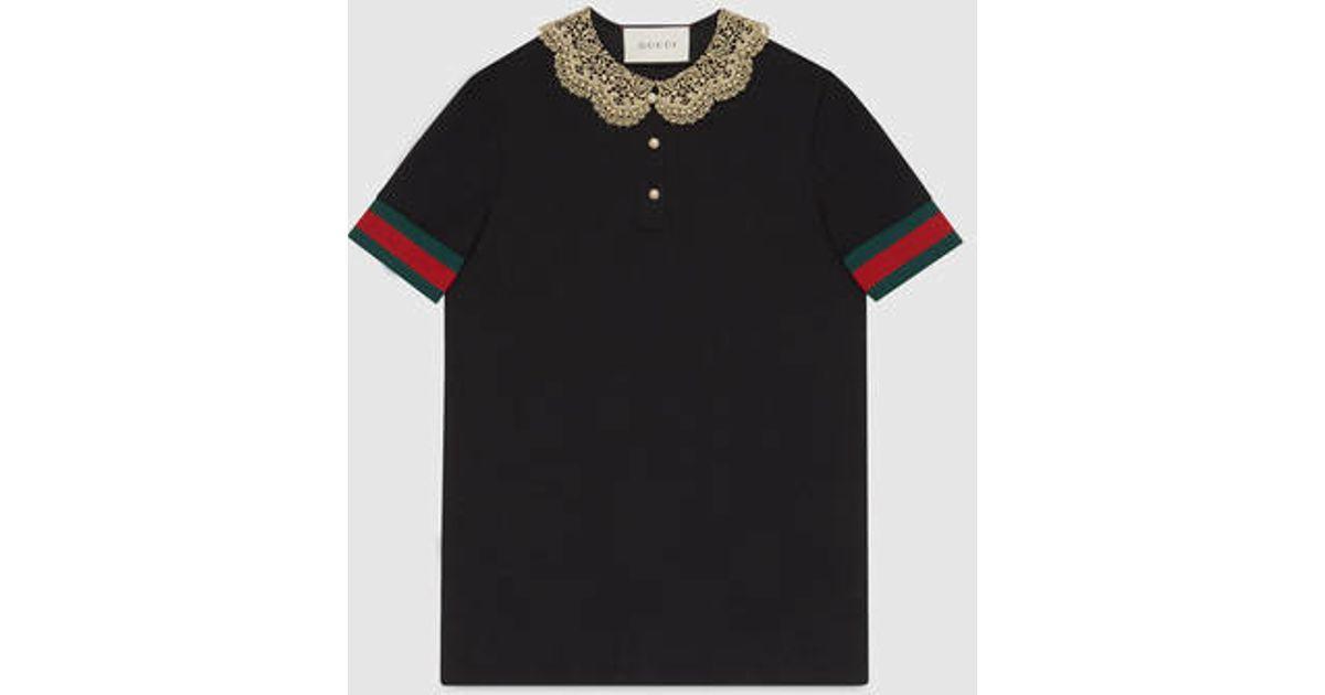 Lyst - Gucci Cotton Piquet Jersey Polo Shirt in Black bda59fd2d