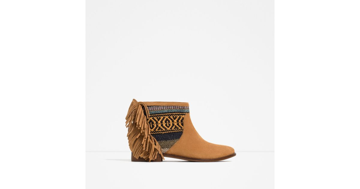 zara fringed leather ankle boots in brown lyst