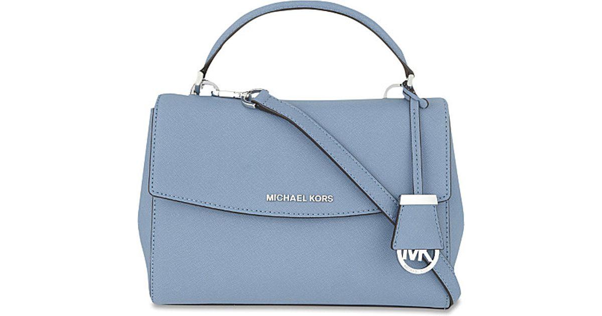 0d40afa59baf ... shopping michael michael kors ava small saffiano leather satchel in  blue lyst 3a2c5 a486d