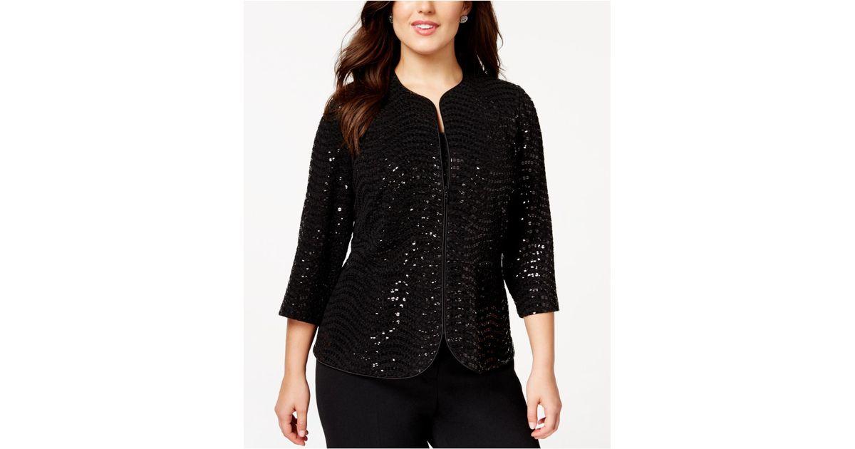67deb29c291 Lyst - Alex Evenings Plus Size Textured Sequin Jacket Set in Black