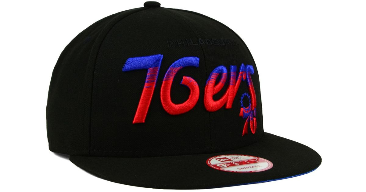 100% authentic 96a86 d2c14 ... inexpensive lyst ktz philadelphia 76ers fade to script 9fifty snapback  cap in black for men 15c9e