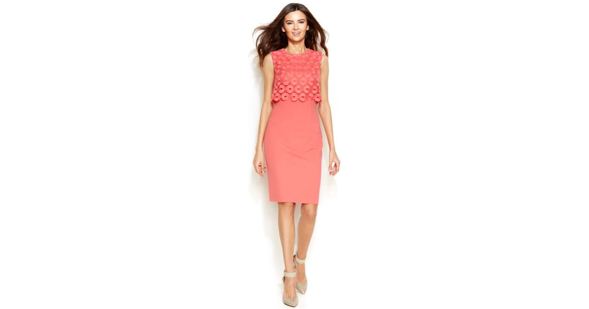 6d42f91c7335 Calvin Klein Sleeveless Circle-Lace Popover Sheath in Pink - Lyst