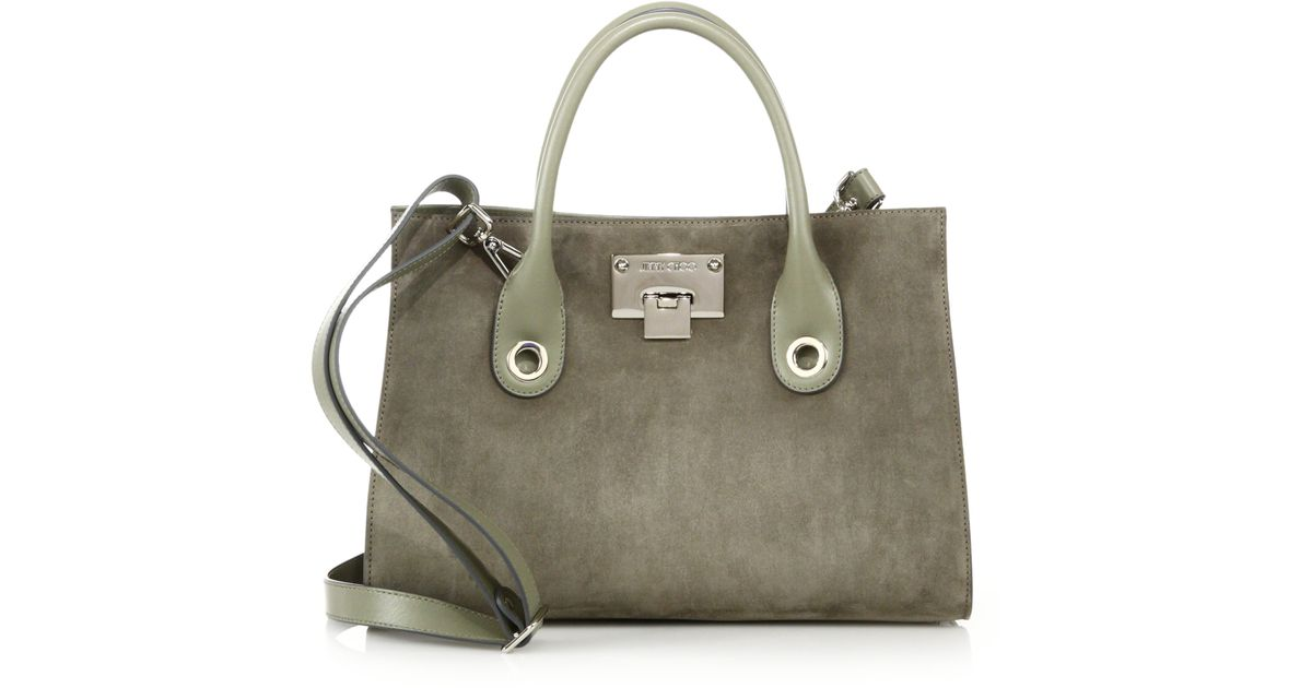 31b6c64a4a Jimmy Choo Riley Small Suede & Leather Tote in Natural - Lyst