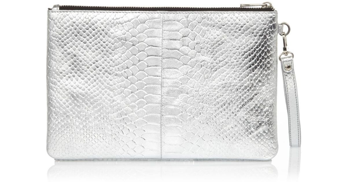 River Island Silver Snake Print Leather Fringed Clutch Bag in Gray - Lyst 45a5a959c1a7a