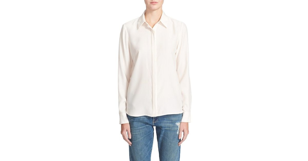 ed35b469e16dd5 Lyst - FRAME  le Classic  Washed Silk Charmeuse Shirt in Pink