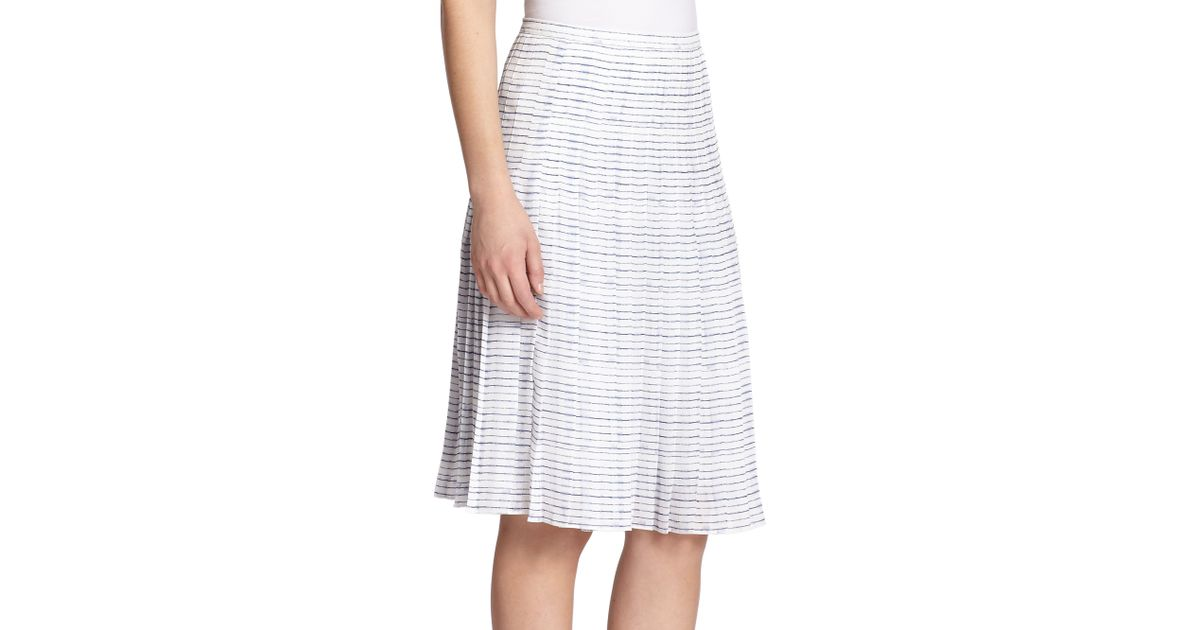 vince pleated stripe skirt in white white coastal lyst