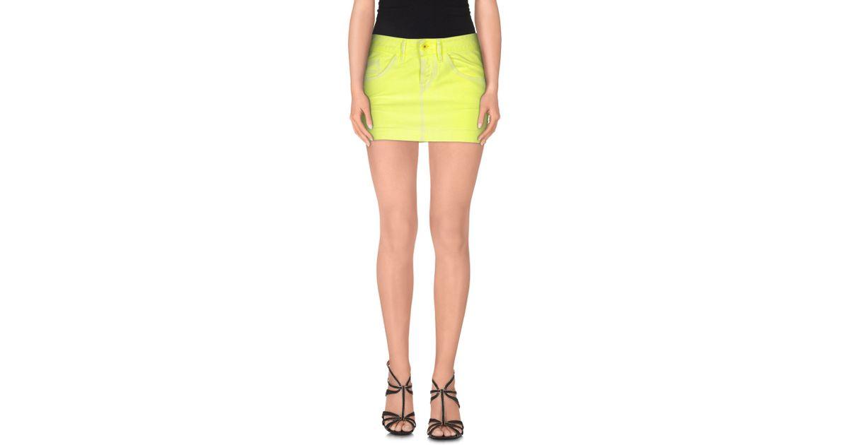 diesel denim skirt in yellow lyst
