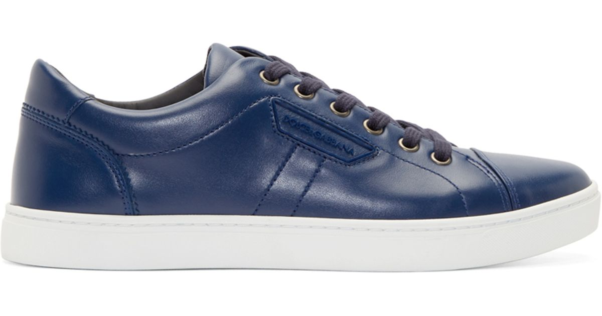Lyst Sneakers for Blue Men London Dolceamp; Gabbana Blue in Leather kXuPiZ