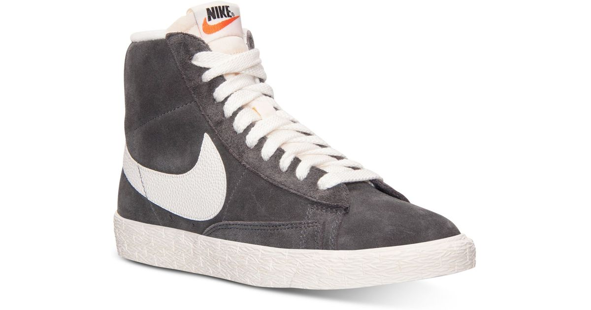 low priced 45614 4cf1a Nike Women'S Blazer Mid Suede Vintage Casual Sneakers From Finish Line in  Gray - Lyst