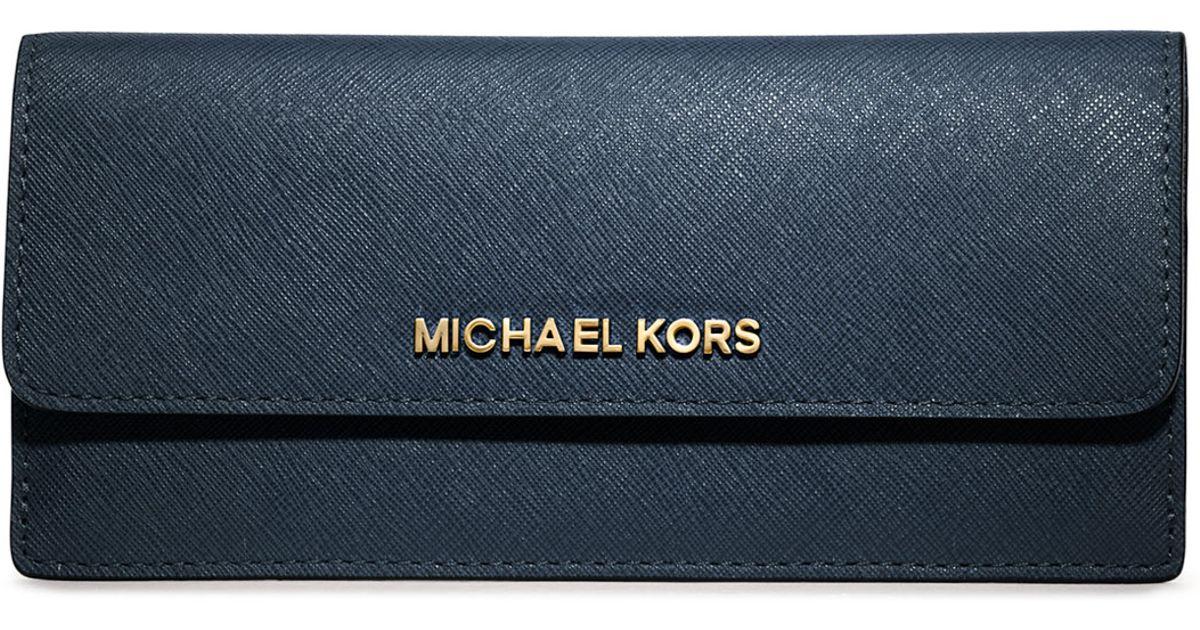 267c6e7efb8a MICHAEL Michael Kors Jet Set Travel Flat Wallet in Blue - Lyst