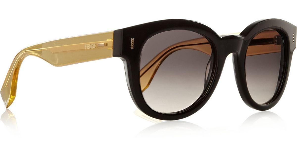 eb460e403a Fendi Two-Tone D-Frame Acetate Sunglasses in Yellow - Lyst