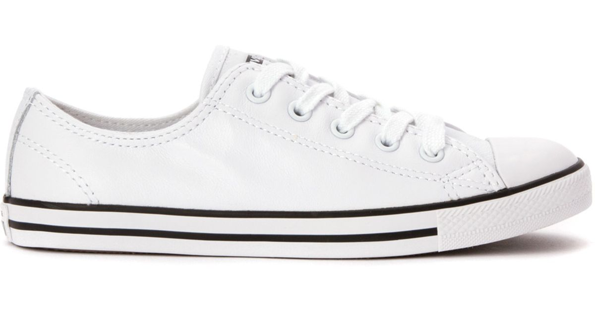 Converse White Chuck Taylor Dainty Leather Low Top Sneaker Lyst