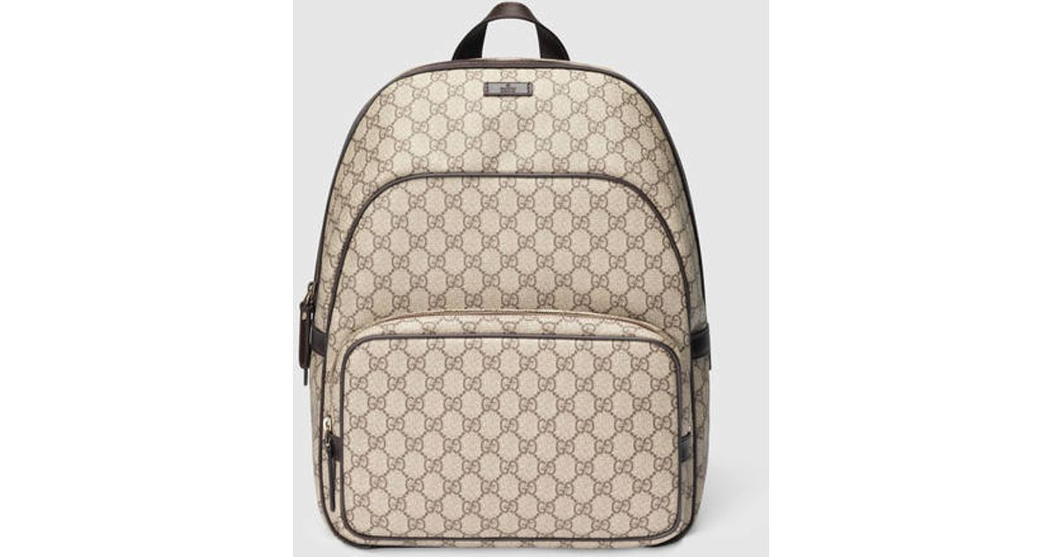 fd52564ab95349 Gucci Gg Supreme Zip Backpack in Brown - Lyst