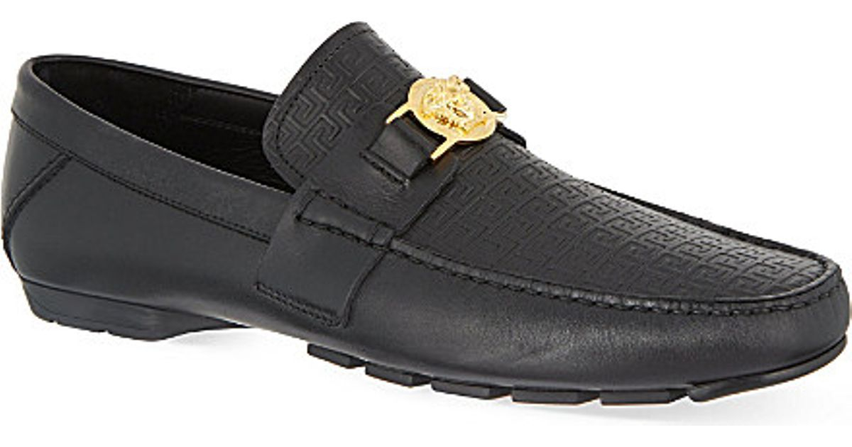 a8f55bd03e0e Lyst - Versace Greco Medusa Driving Shoes in Black for Men